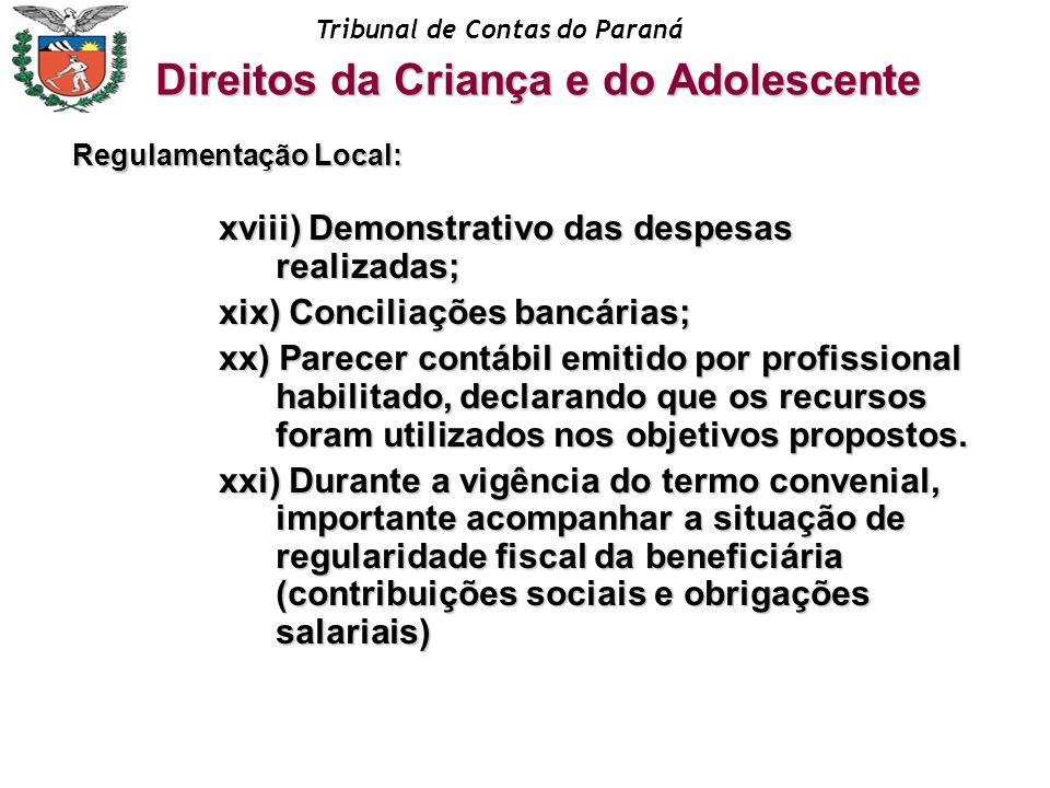 Tribunal de Contas do Paraná xviii) Demonstrativo das despesas realizadas; xix) Conciliações bancárias; xx) Parecer contábil emitido por profissional