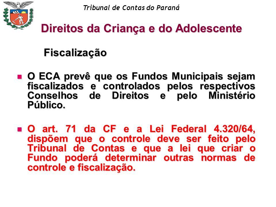 Tribunal de Contas do Paraná O ECA prevê que os Fundos Municipais sejam fiscalizados e controlados pelos respectivos Conselhos de Direitos e pelo Mini