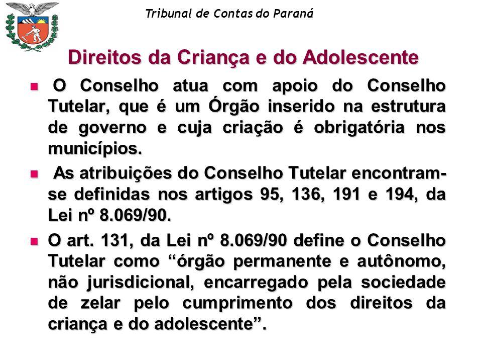 Tribunal de Contas do Paraná O Conselho atua com apoio do Conselho Tutelar, que é um Órgão inserido na estrutura de governo e cuja criação é obrigatór