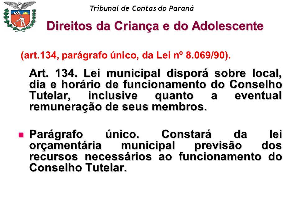 Tribunal de Contas do Paraná Art. 134. Lei municipal disporá sobre local, dia e horário de funcionamento do Conselho Tutelar, inclusive quanto a event