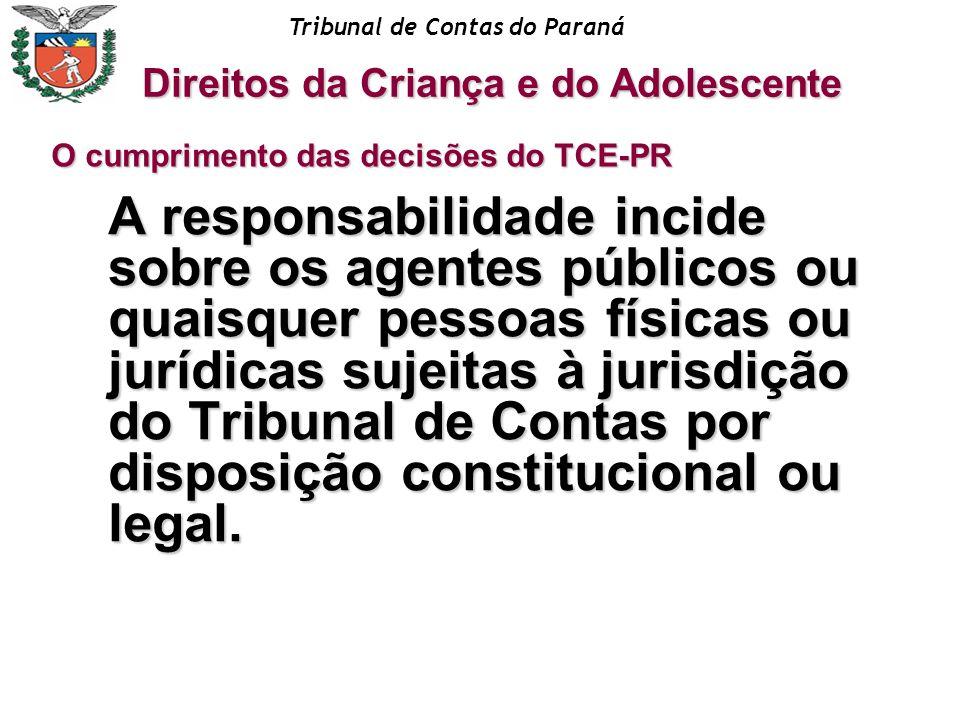 Tribunal de Contas do Paraná A responsabilidade incide sobre os agentes públicos ou quaisquer pessoas físicas ou jurídicas sujeitas à jurisdição do Tr