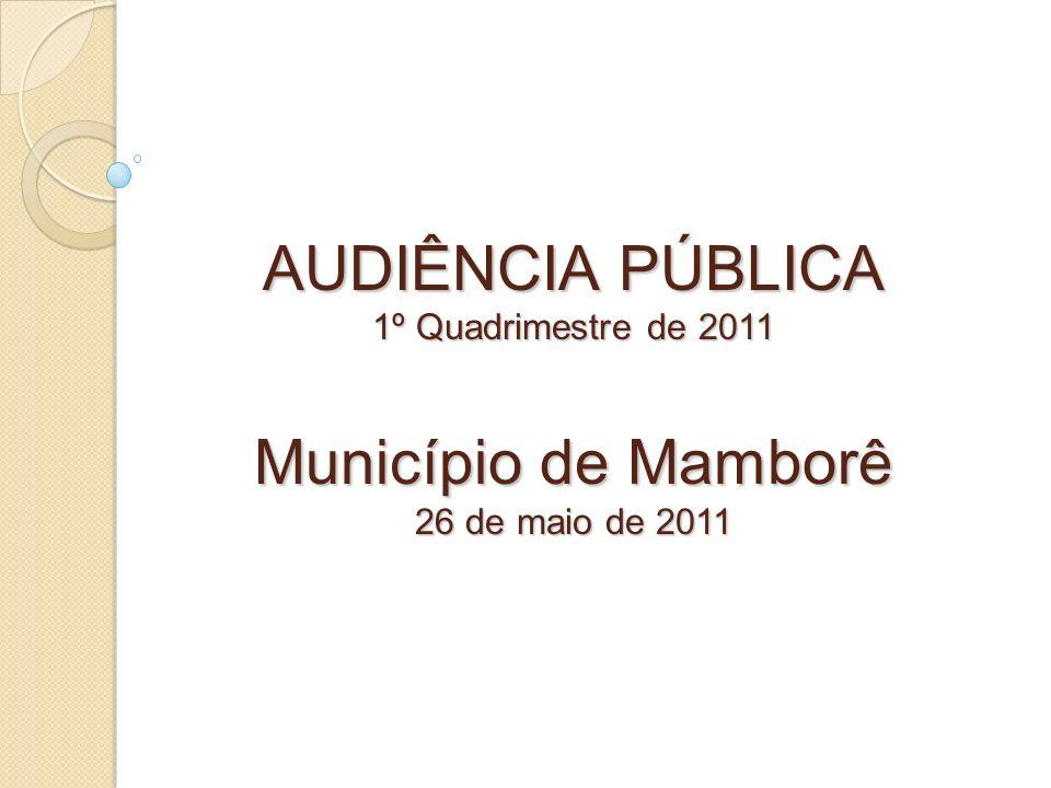 AUDIÊNCIA PÚBLICA 1º Quadrimestre de 2011 Município de Mamborê 26 de maio de 2011