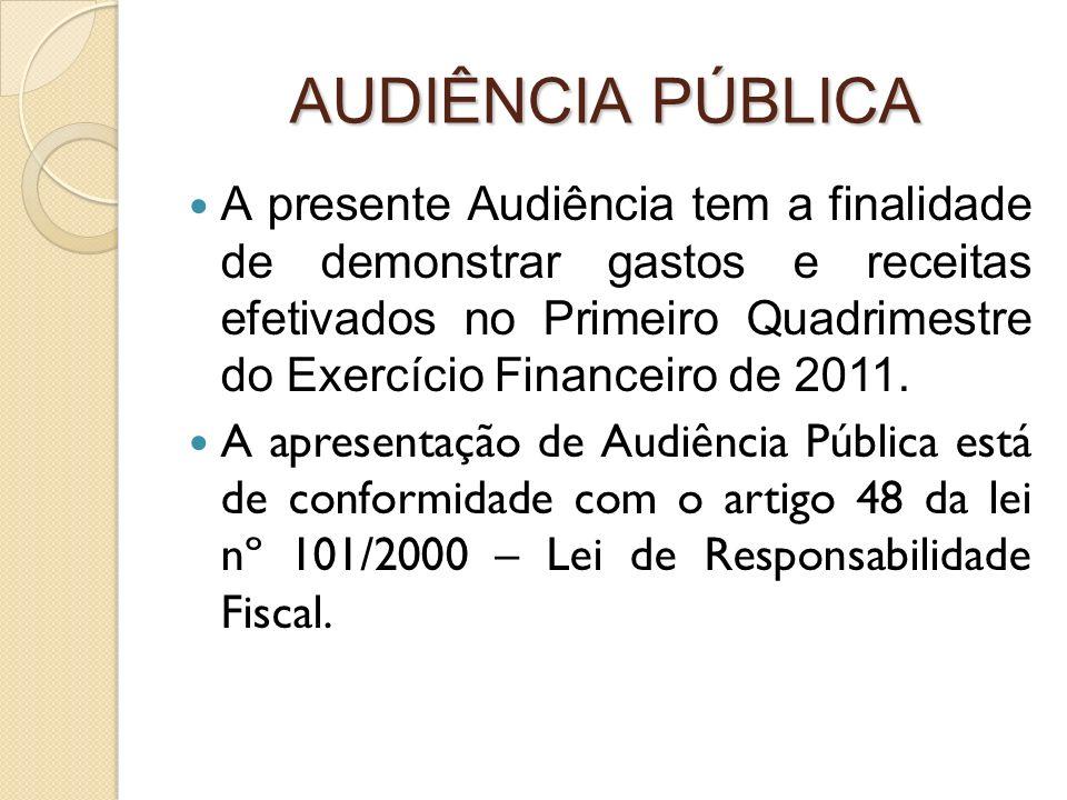 AUDIÊNCIA PÚBLICA A presente Audiência tem a finalidade de demonstrar gastos e receitas efetivados no Primeiro Quadrimestre do Exercício Financeiro de 2011.