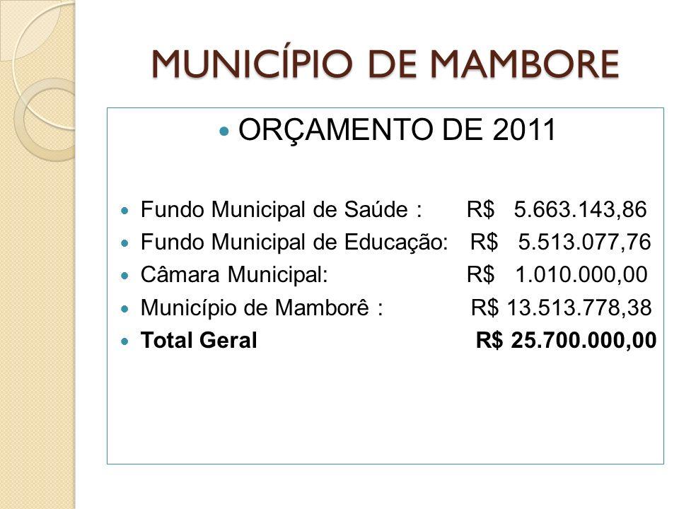 MUNICÍPIO DE MAMBORE ORÇAMENTO DE 2011 Fundo Municipal de Saúde : R$ 5.663.143,86 Fundo Municipal de Educação: R$ 5.513.077,76 Câmara Municipal: R$ 1.010.000,00 Município de Mamborê : R$ 13.513.778,38 Total Geral R$ 25.700.000,00