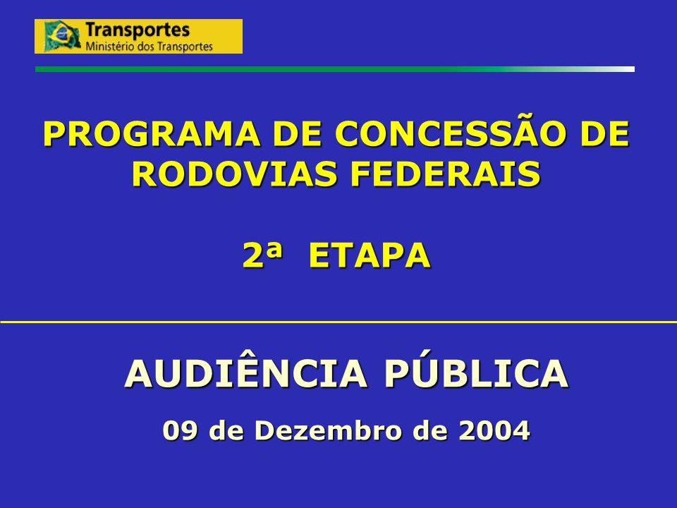 PRÓXIMAS ETAPAS Elaboração dos Editais pelo Ministério dos Transportes; Encaminhamento dos Editais e respectivos Estudos de Viabilidade Econômico-Financeiro ao CND, BID e TCU; Publicação dos Editais: previsto para MARÇO de 2005.
