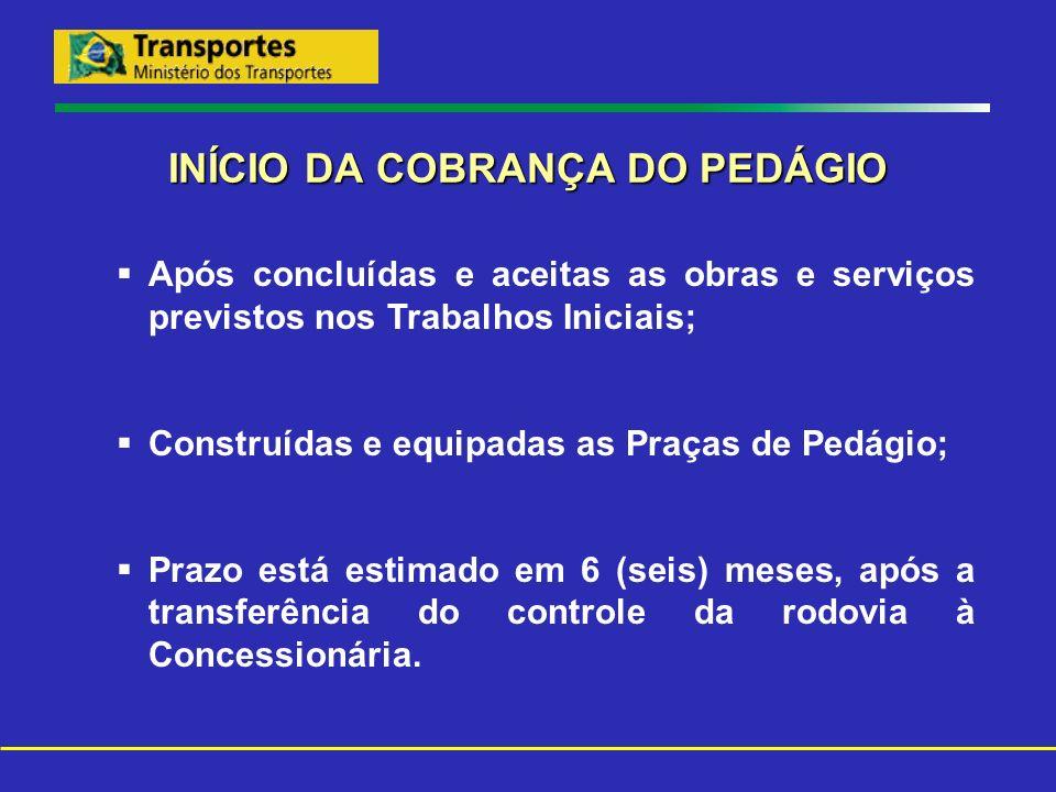 INÍCIO DA COBRANÇA DO PEDÁGIO Após concluídas e aceitas as obras e serviços previstos nos Trabalhos Iniciais; Construídas e equipadas as Praças de Ped