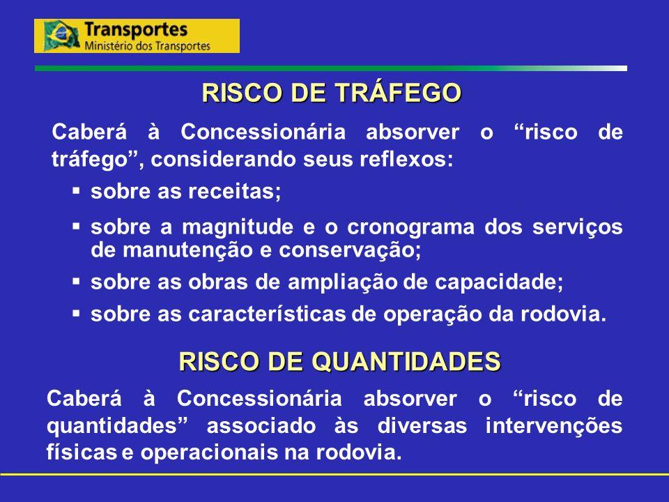 RISCO DE TRÁFEGO Caberá à Concessionária absorver o risco de tráfego, considerando seus reflexos: sobre as receitas; sobre a magnitude e o cronograma