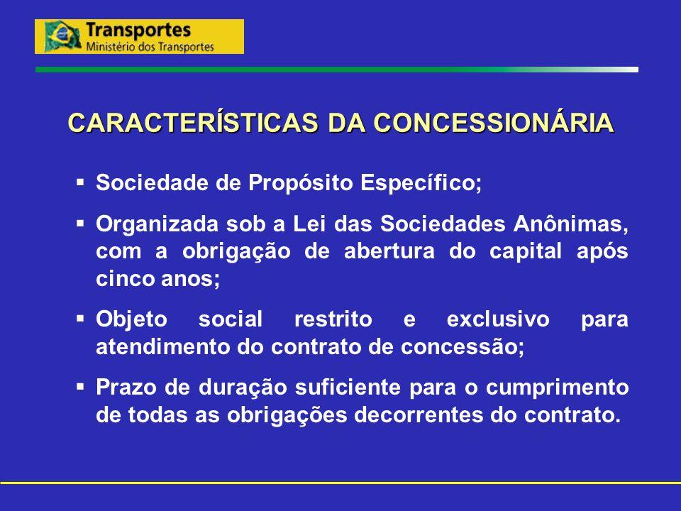 CARACTERÍSTICAS DA CONCESSIONÁRIA Sociedade de Propósito Específico; Organizada sob a Lei das Sociedades Anônimas, com a obrigação de abertura do capi