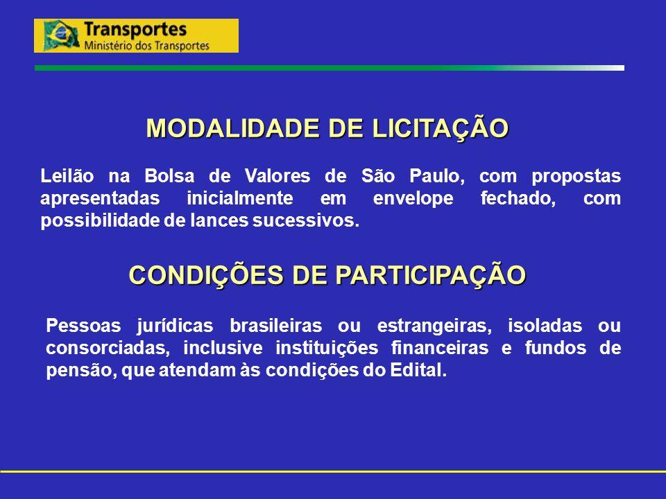 MODALIDADE DE LICITAÇÃO Leilão na Bolsa de Valores de São Paulo, com propostas apresentadas inicialmente em envelope fechado, com possibilidade de lan