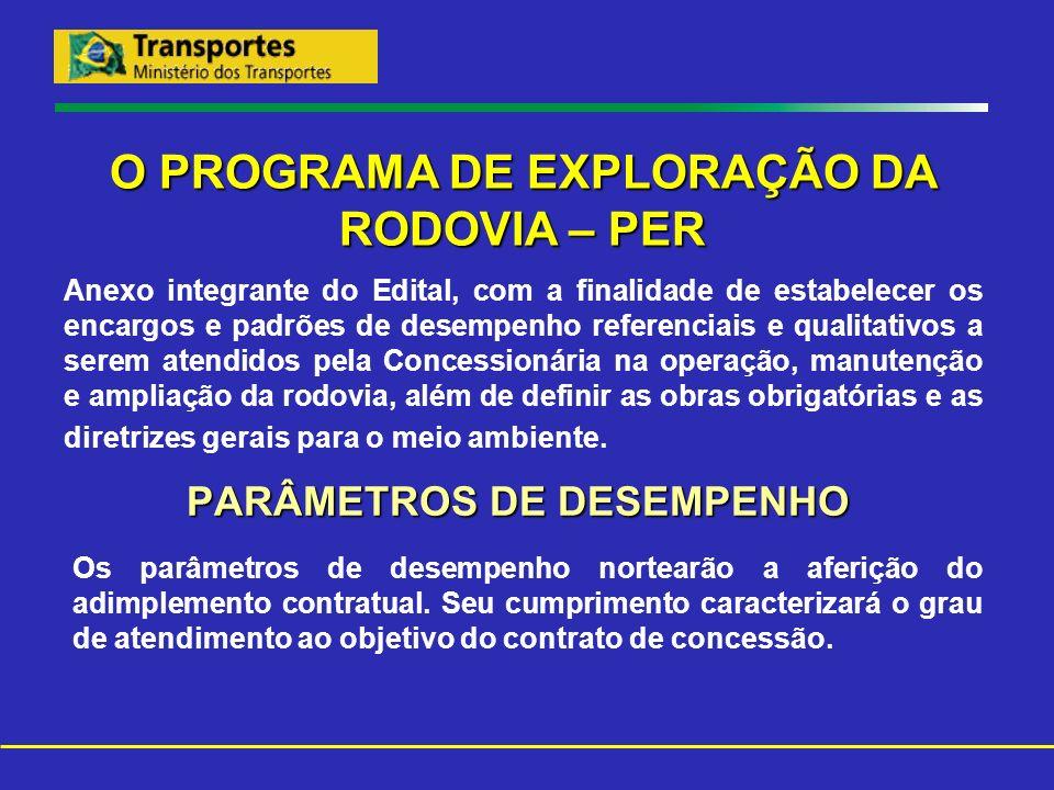 PARÂMETROS DE DESEMPENHO O PROGRAMA DE EXPLORAÇÃO DA RODOVIA – PER Anexo integrante do Edital, com a finalidade de estabelecer os encargos e padrões d