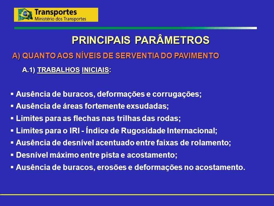 PRINCIPAIS PARÂMETROS A) QUANTO AOS NÍVEIS DE SERVENTIA DO PAVIMENTO A.1) TRABALHOS INICIAIS: A.1) TRABALHOS INICIAIS: Ausência de buracos, deformaçõe