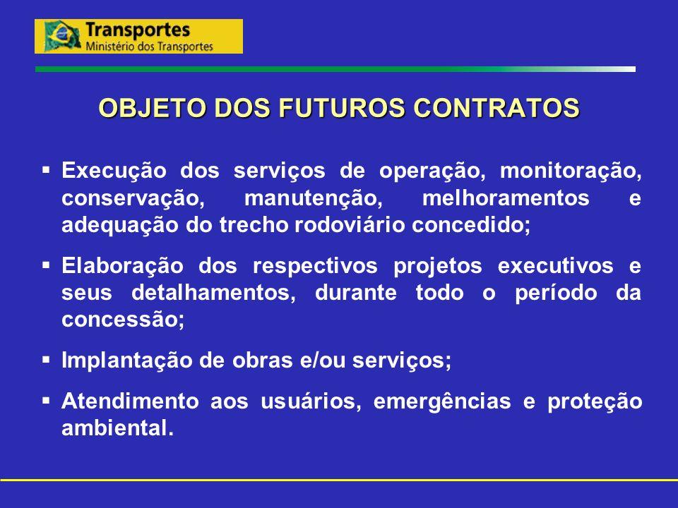 OBJETO DOS FUTUROS CONTRATOS Execução dos serviços de operação, monitoração, conservação, manutenção, melhoramentos e adequação do trecho rodoviário c