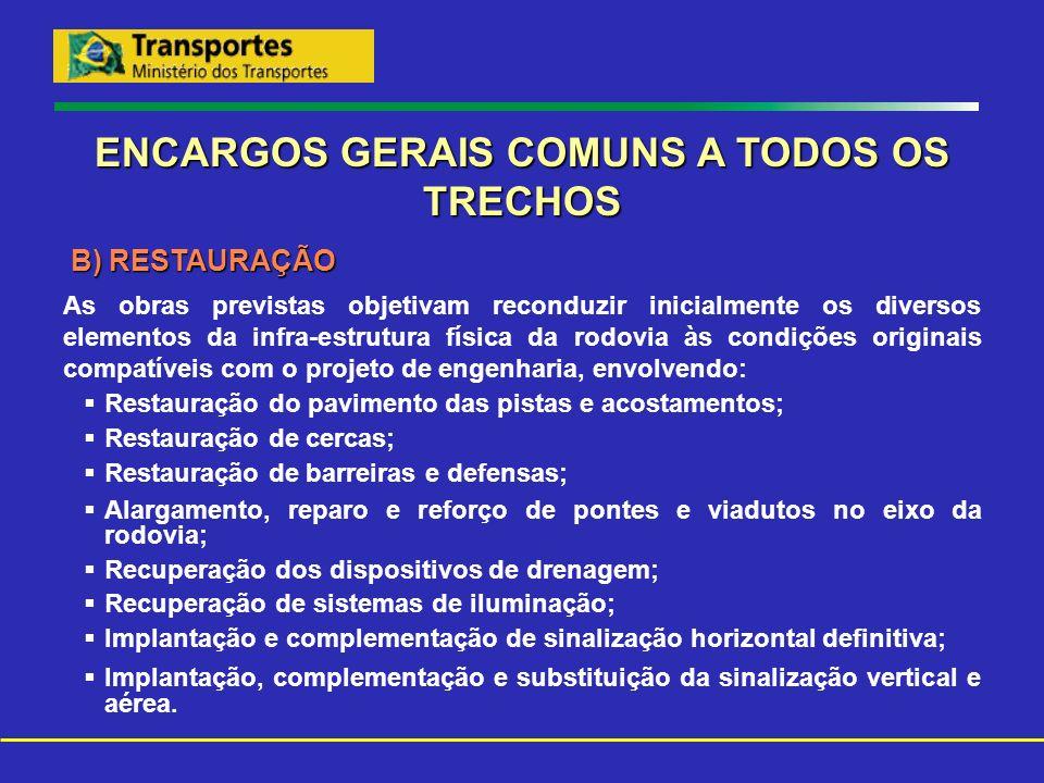 ENCARGOS GERAIS COMUNS A TODOS OS TRECHOS B) RESTAURAÇÃO As obras previstas objetivam reconduzir inicialmente os diversos elementos da infra-estrutura