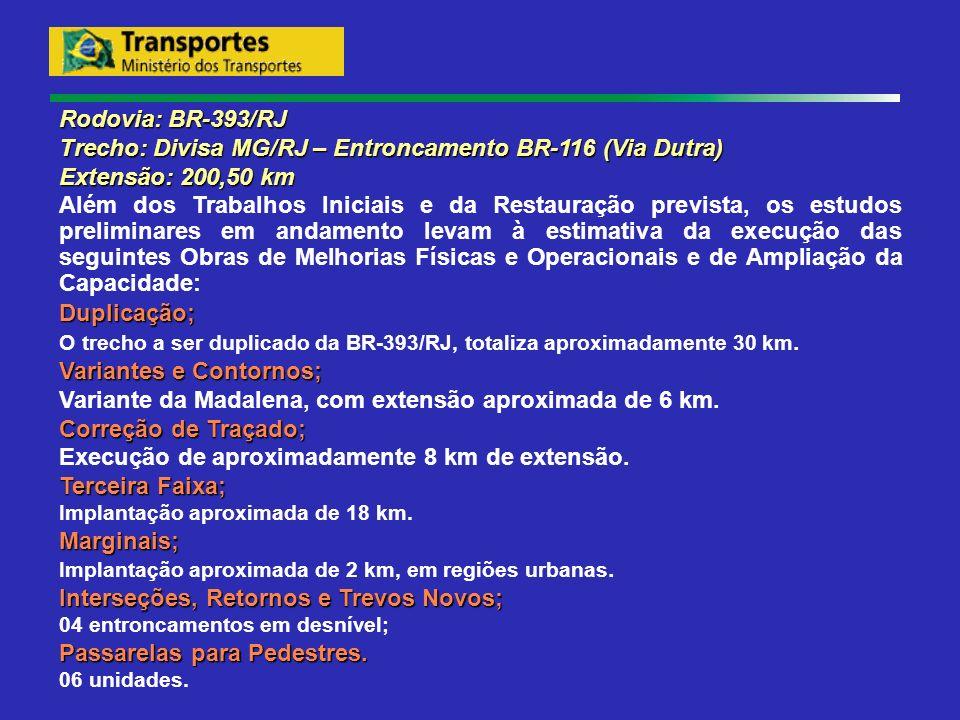 Rodovia: BR-393/RJ Trecho: Divisa MG/RJ – Entroncamento BR-116 (Via Dutra) Extensão: 200,50 km Além dos Trabalhos Iniciais e da Restauração prevista,