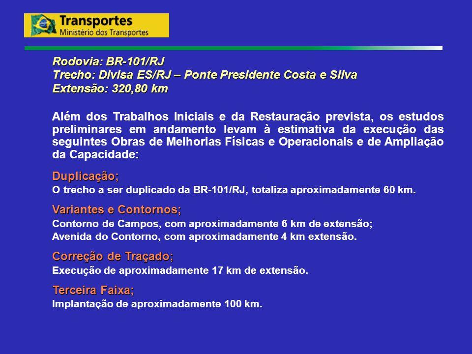 Rodovia: BR-101/RJ Trecho: Divisa ES/RJ – Ponte Presidente Costa e Silva Extensão: 320,80 km Além dos Trabalhos Iniciais e da Restauração prevista, os