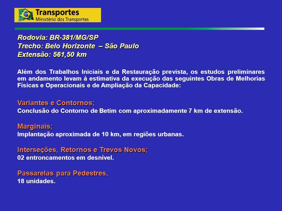 Rodovia: BR-381/MG/SP Trecho: Belo Horizonte – São Paulo Extensão: 561,50 km Além dos Trabalhos Iniciais e da Restauração prevista, os estudos prelimi