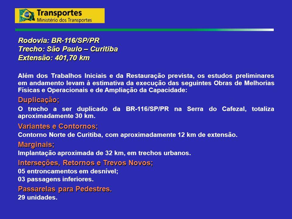 Rodovia: BR-116/SP/PR Trecho: São Paulo – Curitiba Extensão: 401,70 km Além dos Trabalhos Iniciais e da Restauração prevista, os estudos preliminares