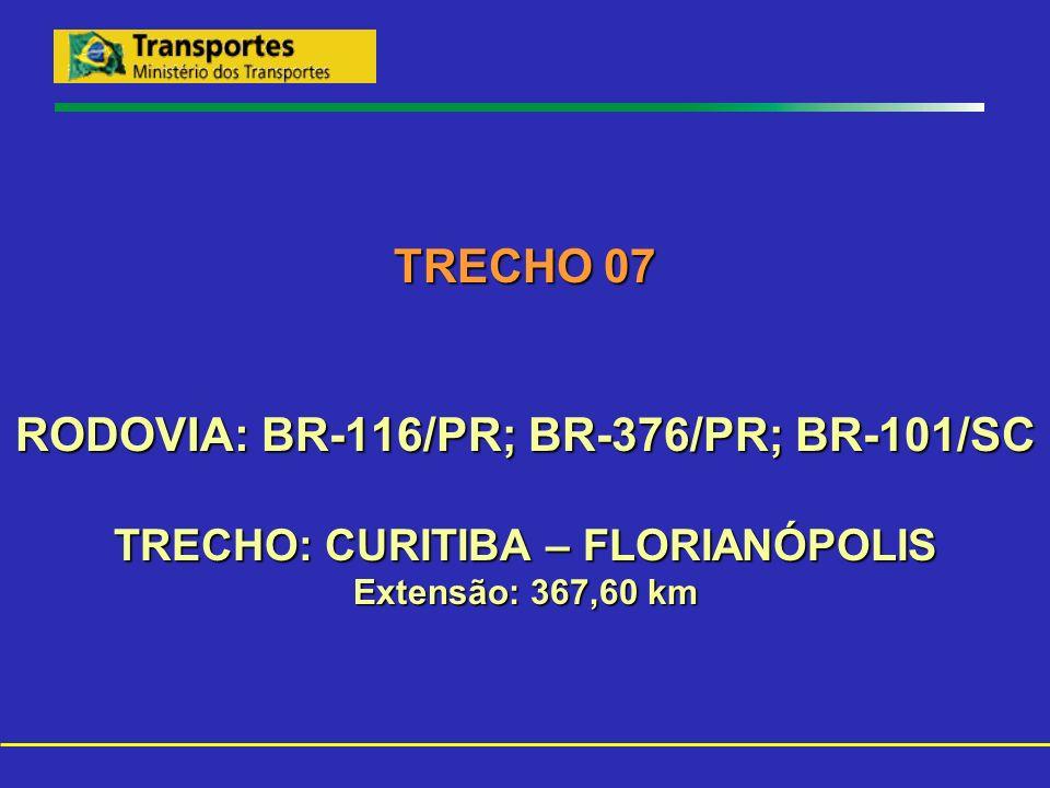 TRECHO 07 RODOVIA: BR-116/PR; BR-376/PR; BR-101/SC TRECHO: CURITIBA – FLORIANÓPOLIS Extensão: 367,60 km