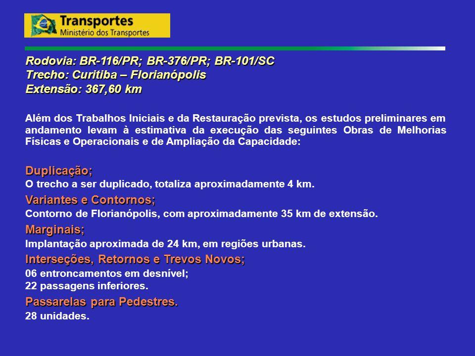 Rodovia: BR-116/PR; BR-376/PR; BR-101/SC Trecho: Curitiba – Florianópolis Extensão: 367,60 km Além dos Trabalhos Iniciais e da Restauração prevista, o
