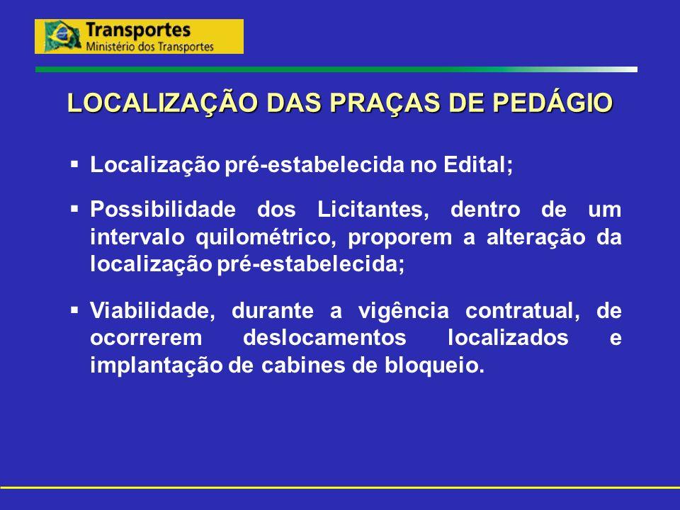 LOCALIZAÇÃO DAS PRAÇAS DE PEDÁGIO Localização pré-estabelecida no Edital; Possibilidade dos Licitantes, dentro de um intervalo quilométrico, proporem