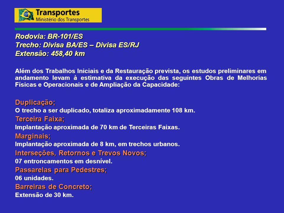 Rodovia: BR-101/ES Trecho: Divisa BA/ES – Divisa ES/RJ Extensão: 458,40 km Além dos Trabalhos Iniciais e da Restauração prevista, os estudos prelimina