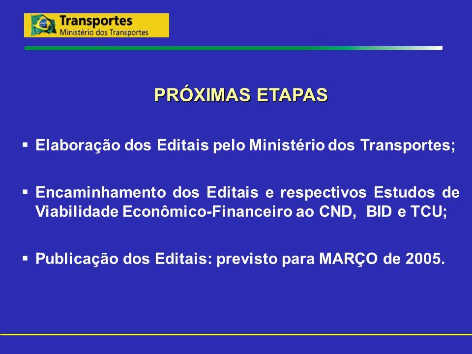 PRÓXIMAS ETAPAS Elaboração dos Editais pelo Ministério dos Transportes; Encaminhamento dos Editais e respectivos Estudos de Viabilidade Econômico-Fina