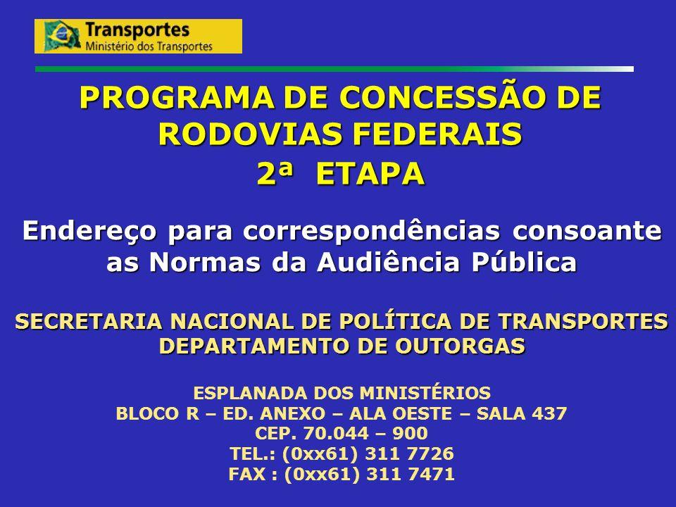 PROGRAMA DE CONCESSÃO DE RODOVIAS FEDERAIS 2ª ETAPA Endereço para correspondências consoante as Normas da Audiência Pública SECRETARIA NACIONAL DE POL