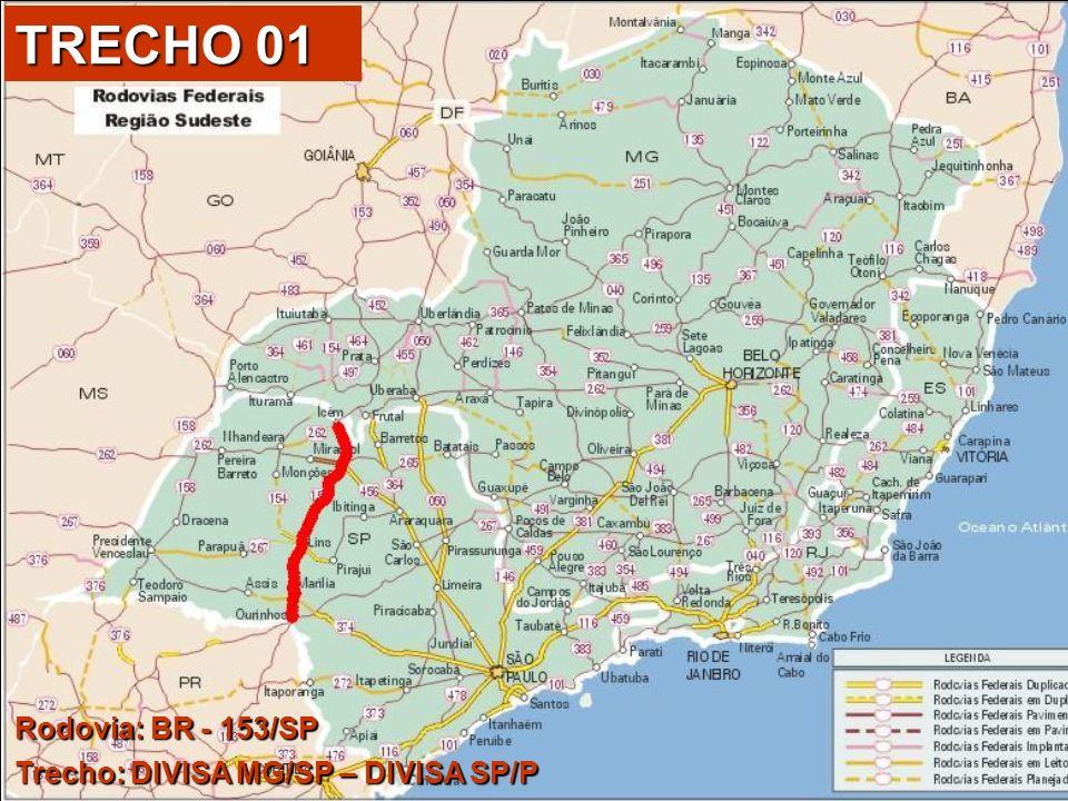 Divisa MG/SP 267 Divisa SP/PR 1849735 0 348 km BR-153/SP DIVISA MG/SP - DIVISA SP/PR Extensão = 321,70 km TRECHO 01 Pedágio Ponte s/Rio Grande (Cab.