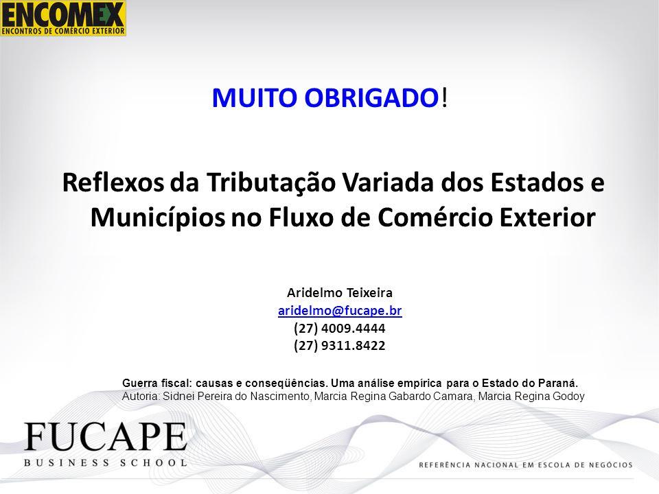 MUITO OBRIGADO! Reflexos da Tributação Variada dos Estados e Municípios no Fluxo de Comércio Exterior Aridelmo Teixeira aridelmo@fucape.br (27) 4009.4
