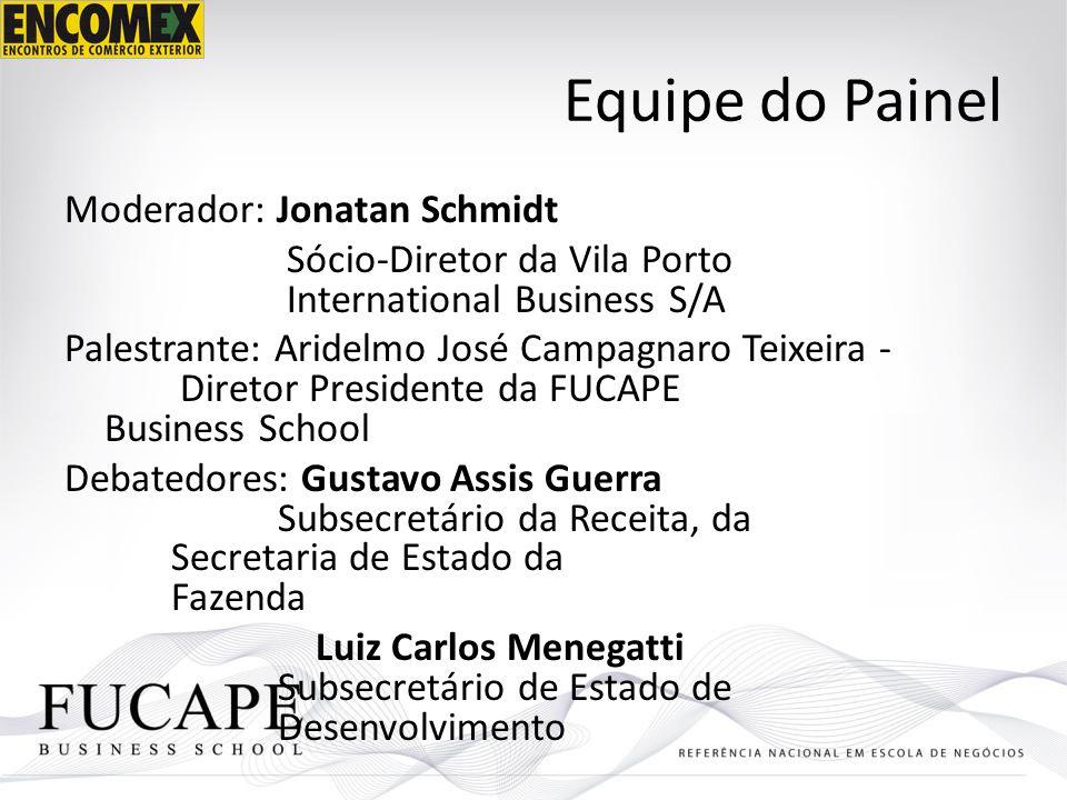 Equipe do Painel Moderador: Jonatan Schmidt Sócio-Diretor da Vila Porto International Business S/A Palestrante: Aridelmo José Campagnaro Teixeira - Di