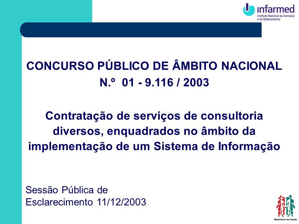 CONCURSO PÚBLICO DE ÂMBITO NACIONAL N.º 01 - 9.116 / 2003 Contratação de serviços de consultoria diversos, enquadrados no âmbito da implementação de u