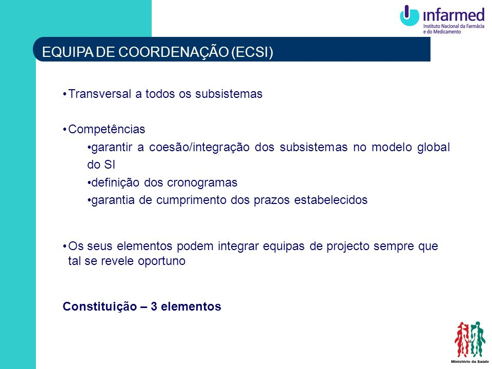 EQUIPA DE COORDENAÇÃO (ECSI) Transversal a todos os subsistemas Competências garantir a coesão/integração dos subsistemas no modelo global do SI defin