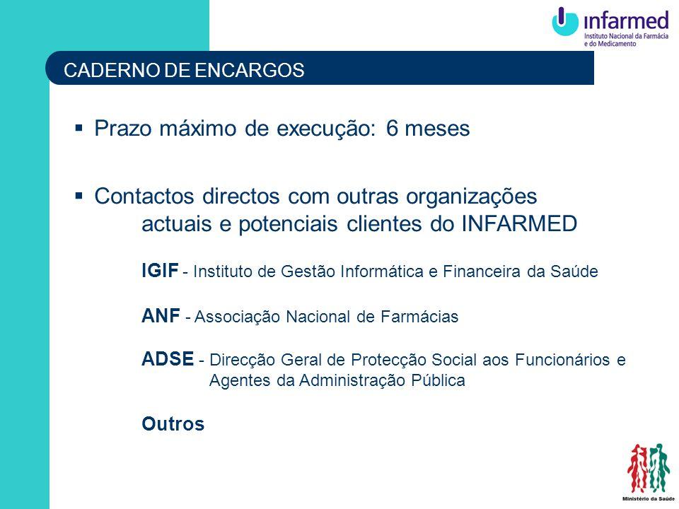 CADERNO DE ENCARGOS Prazo máximo de execução: 6 meses Contactos directos com outras organizações actuais e potenciais clientes do INFARMED IGIF - Inst