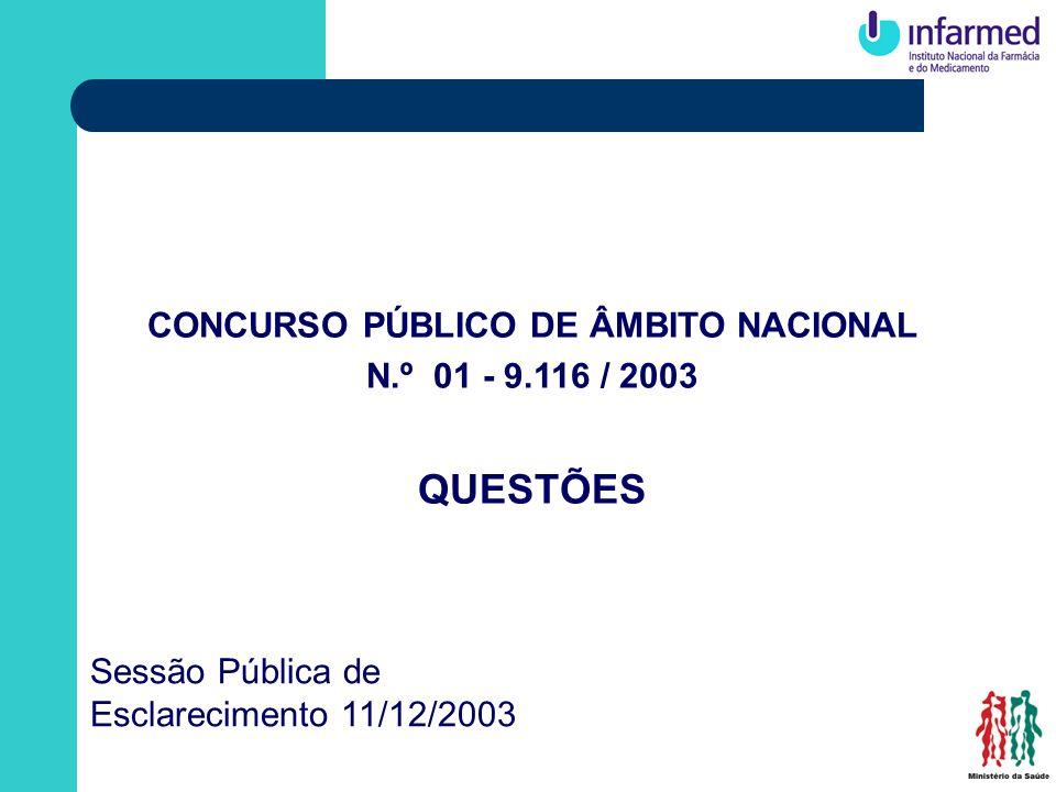 CONCURSO PÚBLICO DE ÂMBITO NACIONAL N.º 01 - 9.116 / 2003 QUESTÕES Sessão Pública de Esclarecimento 11/12/2003