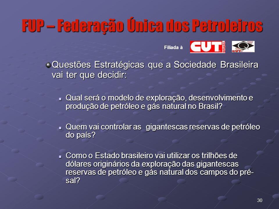 30 FUP – Federação Única dos Petroleiros Filiada à Questões Estratégicas que a Sociedade Brasileira vai ter que decidir: Qual será o modelo de explora