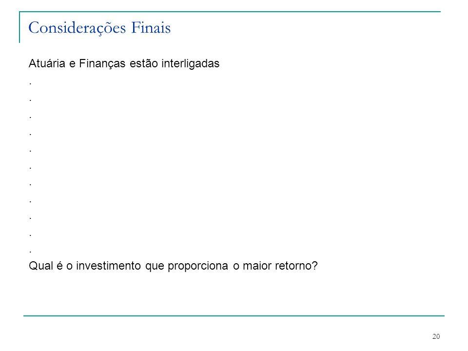 20 Considerações Finais Atuária e Finanças estão interligadas. Qual é o investimento que proporciona o maior retorno?
