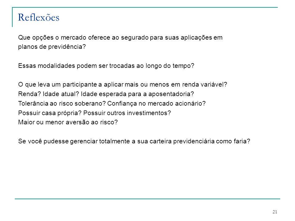 21 Reflexões Que opções o mercado oferece ao segurado para suas aplicações em planos de previdência? Essas modalidades podem ser trocadas ao longo do
