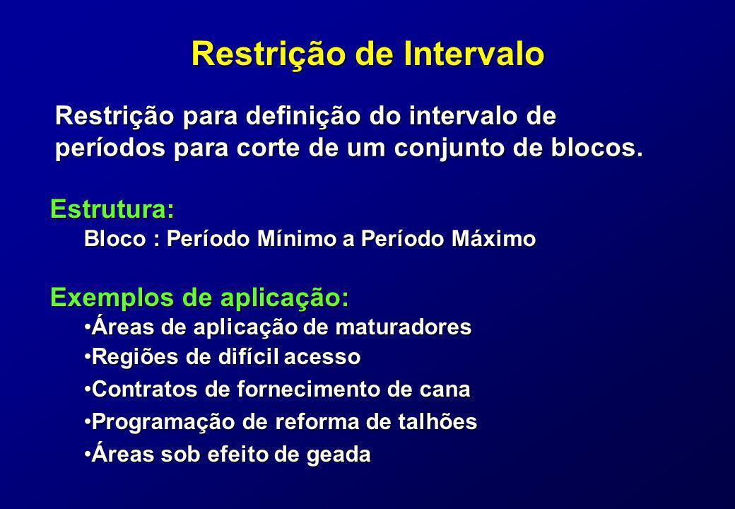 Restrição de Intervalo Restrição para definição do intervalo de períodos para corte de um conjunto de blocos. Exemplos de aplicação: Áreas de aplicaçã