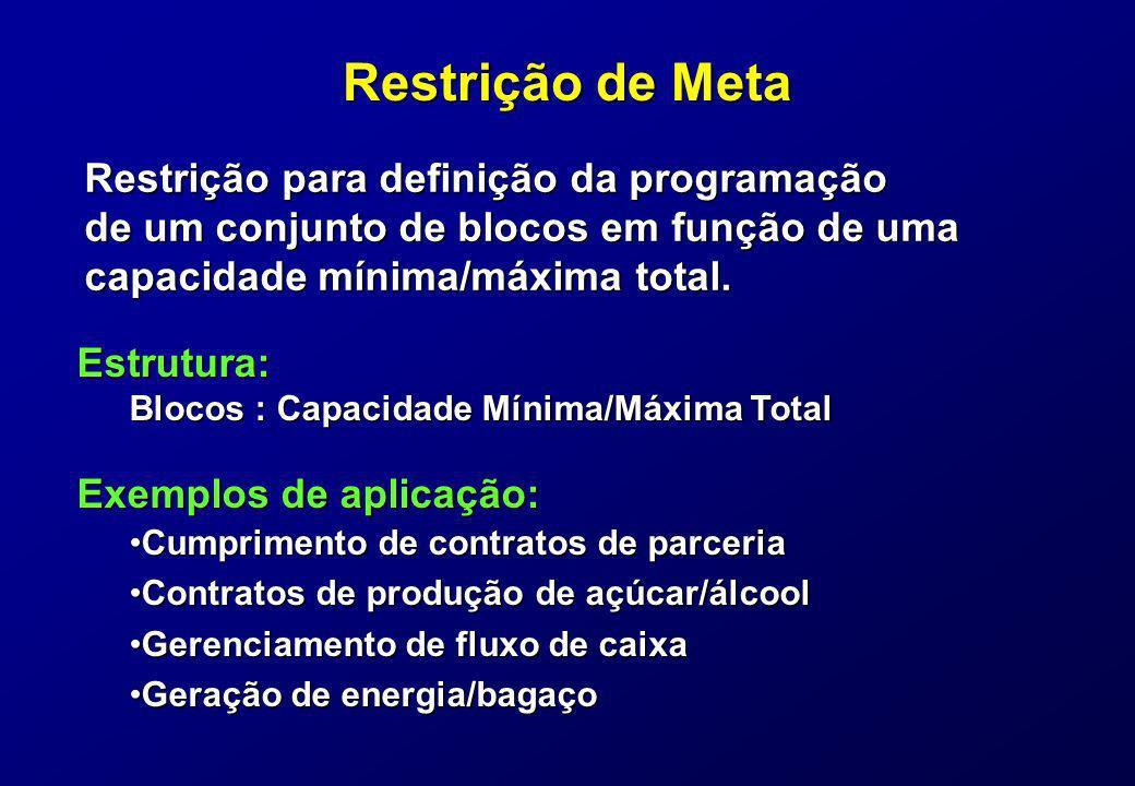Restrição de Meta Restrição para definição da programação de um conjunto de blocos em função de uma capacidade mínima/máxima total. Exemplos de aplica