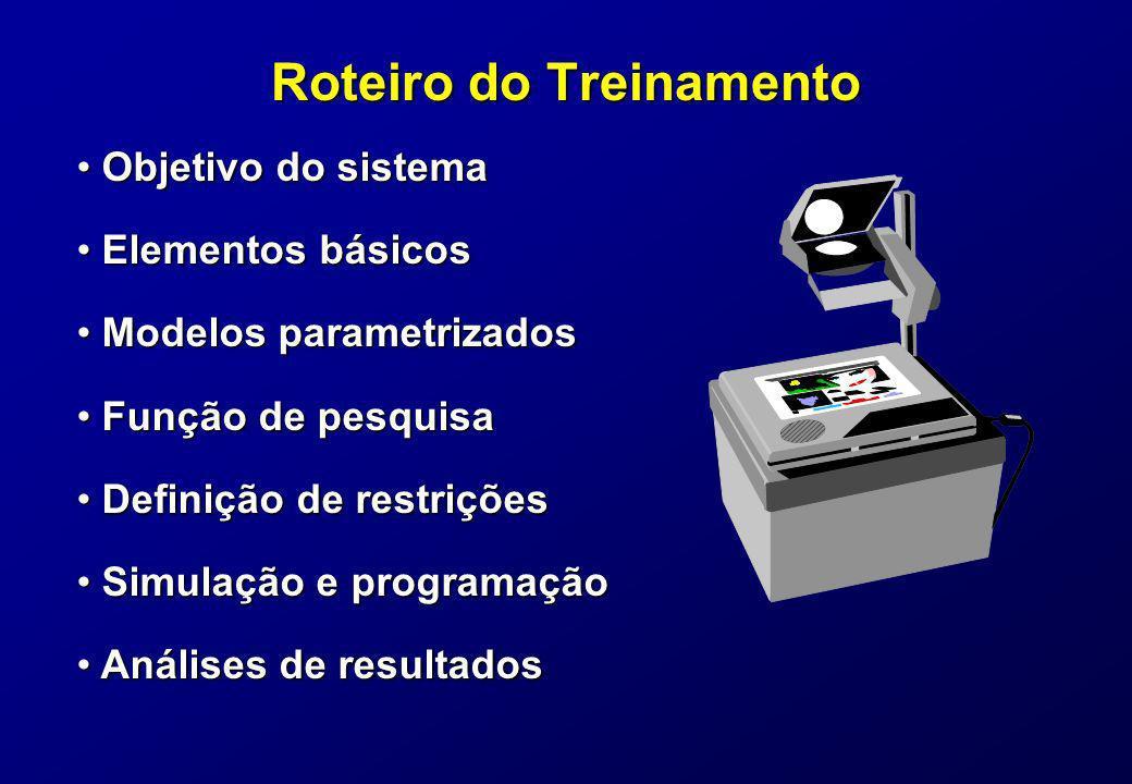 Roteiro do Treinamento Objetivo do sistema Objetivo do sistema Elementos básicos Elementos básicos Modelos parametrizados Modelos parametrizados Funçã