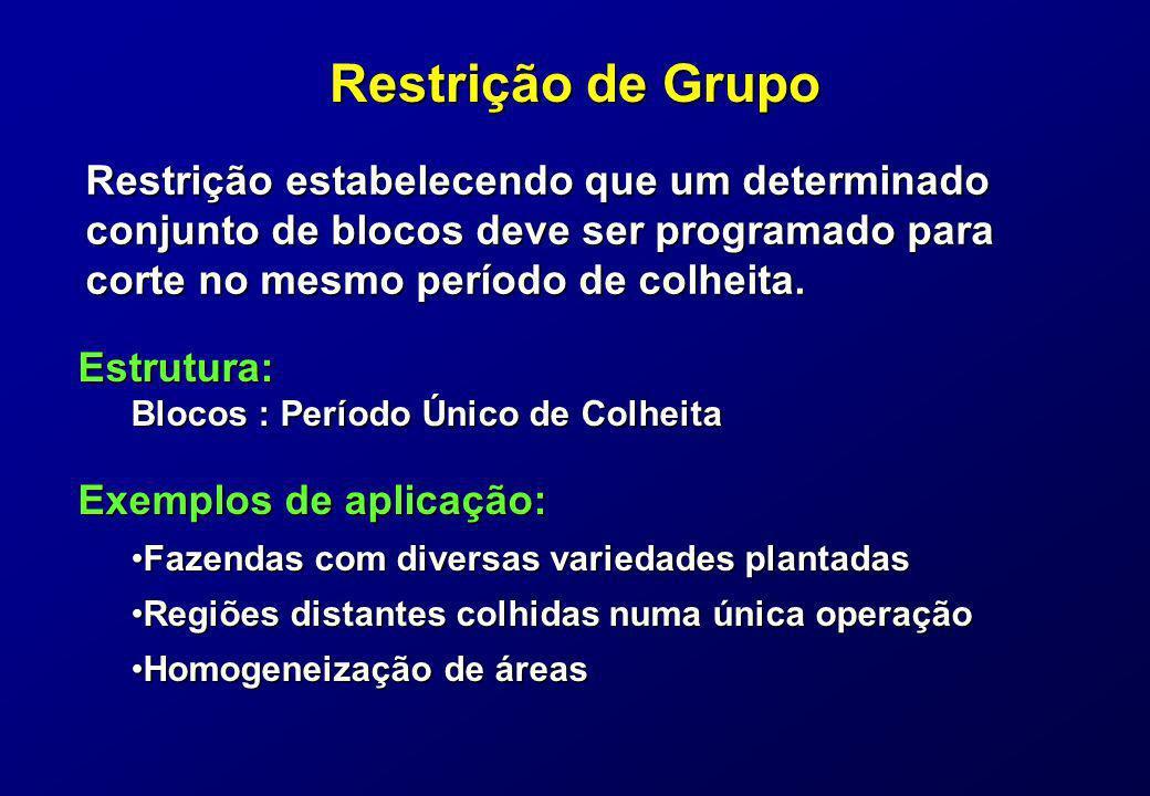 Restrição de Grupo Restrição estabelecendo que um determinado conjunto de blocos deve ser programado para corte no mesmo período de colheita. Exemplos