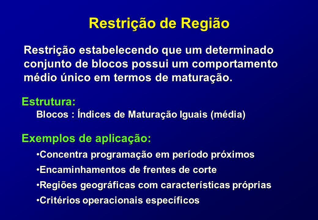 Restrição de Região Restrição estabelecendo que um determinado conjunto de blocos possui um comportamento médio único em termos de maturação. Exemplos