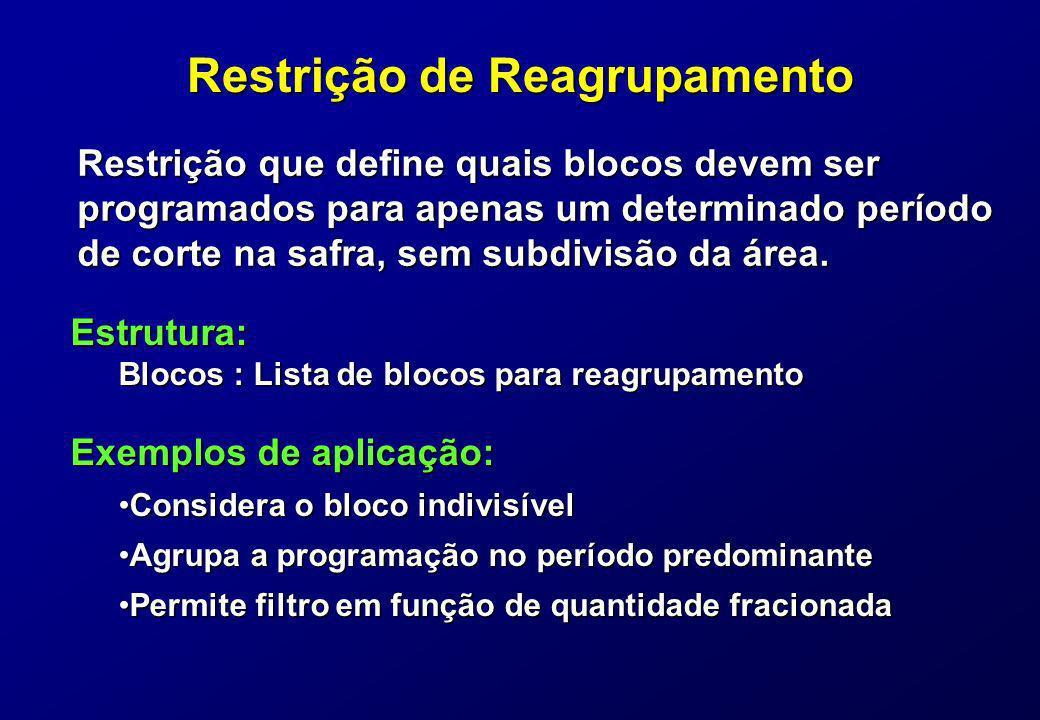 Restrição de Reagrupamento Restrição que define quais blocos devem ser programados para apenas um determinado período de corte na safra, sem subdivisã