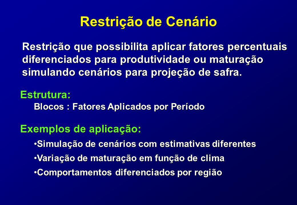 Restrição de Cenário Restrição que possibilita aplicar fatores percentuais diferenciados para produtividade ou maturação simulando cenários para proje