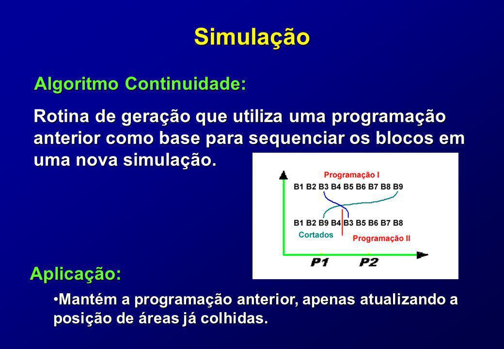 Simulação Rotina de geração que utiliza uma programação anterior como base para sequenciar os blocos em uma nova simulação. Algoritmo Continuidade: Ap