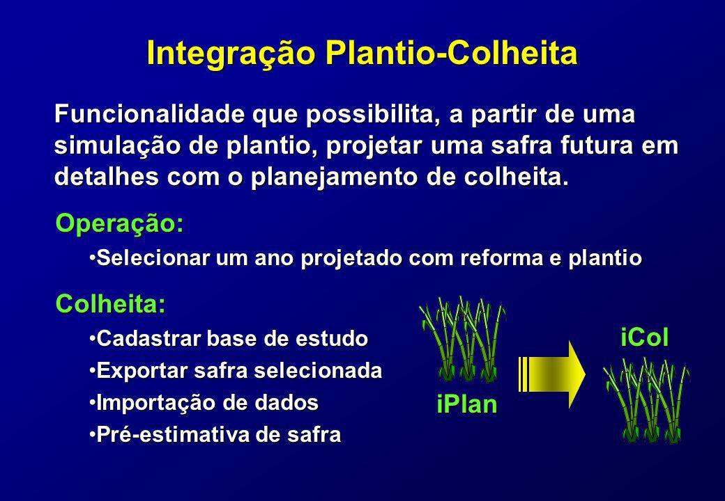 Integração Plantio-Colheita Funcionalidade que possibilita, a partir de uma simulação de plantio, projetar uma safra futura em detalhes com o planejam