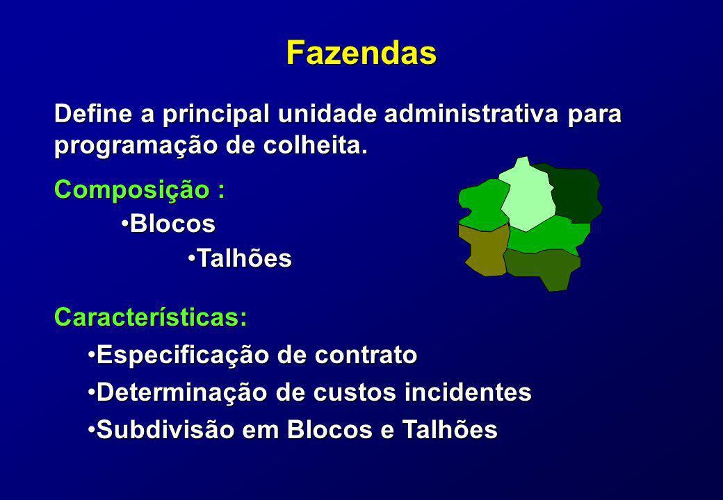 Fazendas Define a principal unidade administrativa para programação de colheita. Características: Especificação de contratoEspecificação de contrato D