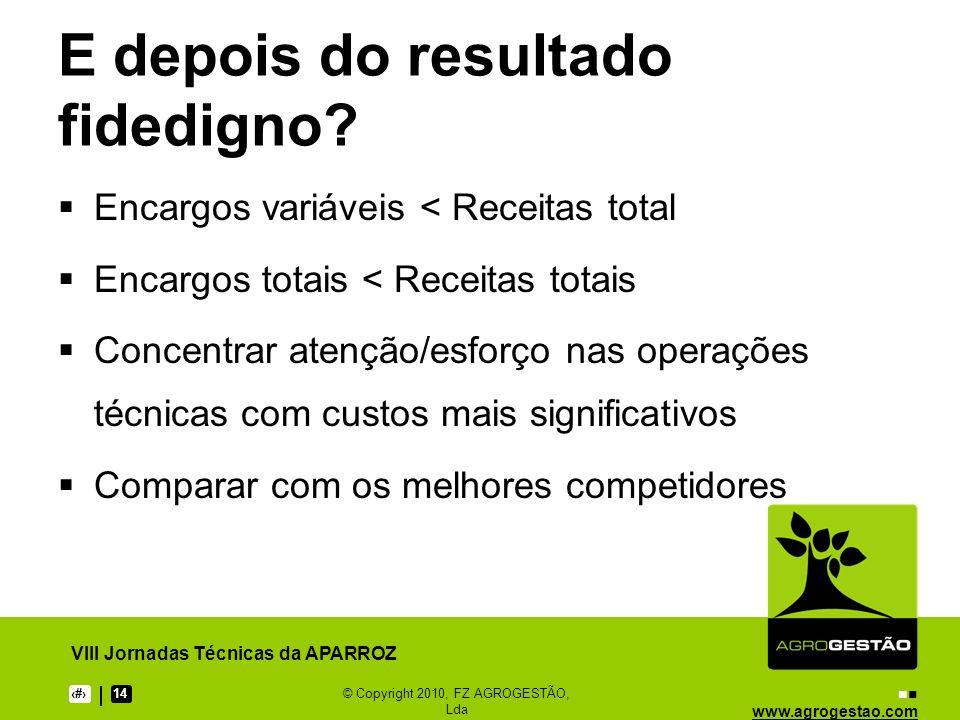 www.agrogestao.com VIII Jornadas Técnicas da APARROZ 1114© Copyright 2010, FZ AGROGESTÃO, Lda E depois do resultado fidedigno? Encargos variáveis < Re