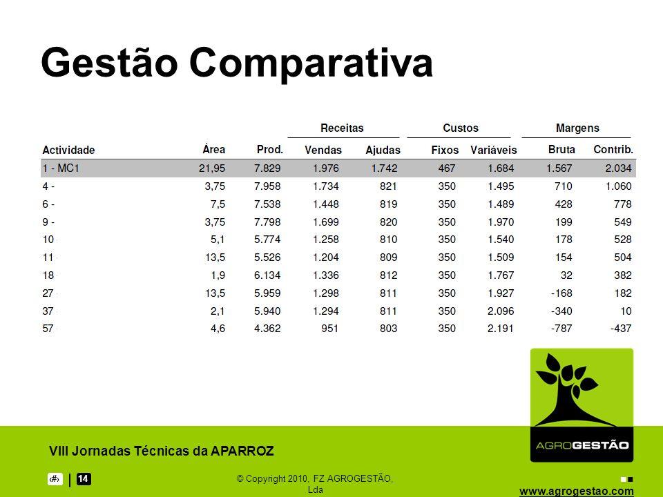 www.agrogestao.com VIII Jornadas Técnicas da APARROZ 1314© Copyright 2010, FZ AGROGESTÃO, Lda Gestão Comparativa