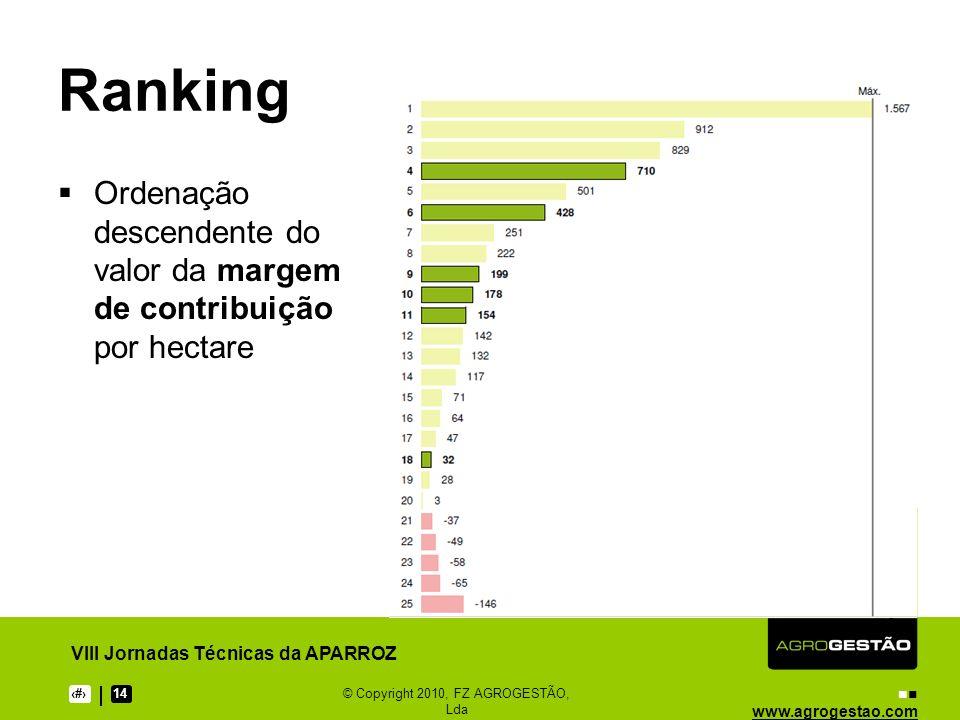 www.agrogestao.com VIII Jornadas Técnicas da APARROZ 14 © Copyright 2010, FZ AGROGESTÃO, Lda Ranking Ordenação descendente do valor da margem de contribuição por hectare